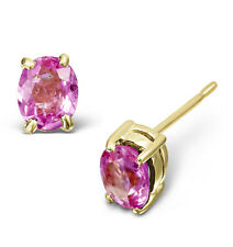 Pink Sapphire Earrings Yellow Gold pink Sapphire Solitaire earrings 5 x 4mm Oval