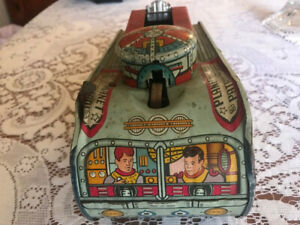 MARX REX MARS PLANET PATROL X-1 SPACE TANK TIN WIND-UP TOY 1950's As Is