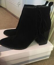 Womens Office Black Suede Zip Ankle Boots UK Size 6