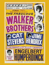"Walker Brothers / Jimi Hendrix Bedford 16"" x 12"" Photo Repro Concert Poster"