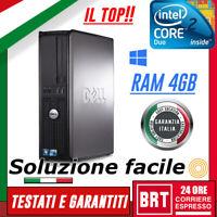 PC COMPUTER FISSO DELL OPTIPLEX 360 SFF CPU CORE 2 DUO 4GB RAM + LICENZA WIN 10!