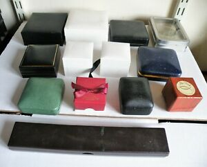 COLLECTION OF 13 VARIOUS VINTAGE / ANTIQUE JEWELLERY , RING BOXES