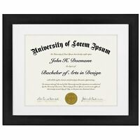 Americanflat 11x14 Document Frame - Display Documents Sized 8.5x11 Inch with Mat