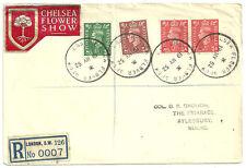 L'EGVF x4 Chelsea Flower Show SW3 cds de 1952 enregistré étiquette autocollant London sw126