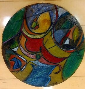 PEDRO CORONEL COLOR PENCILS ON WOOD SIGNED PAINTING