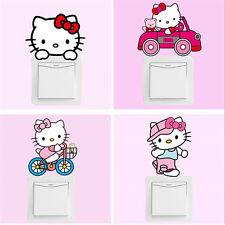 10pcs Cartoon Pink Hello Kitty Cat Switch Stickers Bedroom Wall Kids Girls Art