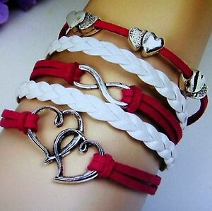Awesome Handcrafted Chic Infinity Love Charm Bracelet - 7 Inches