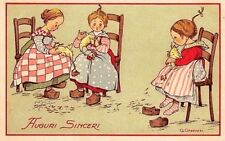 GHEDUZZI Bambine spellano Galline Augurale  PC Circa 1915