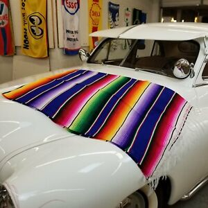 Hot Rod Interior - Blue Authentic Mexican Indian Blanket Seat Cover Track Picnic