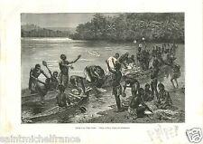 Congo River Village Adouma Gabon Africa Savorgnan de Brazza GRAVURE PRINT 1888