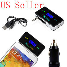 NEW 3.5mm FM Transmitter Radio Adapter for Samsung Galaxy S4 S5 S6 +Car Charger