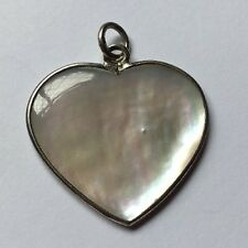 Sterling Silver (925) Mother Of Pearl Heart Shape Pendant Necklace Charm M
