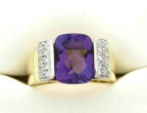 DIAMOND AMETHYST RING PURPLE AMETHYST GEMSTONE RING 18K SPARK