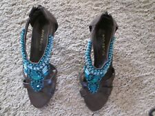 "FABULOUS ANN MARINO BROWN WITH TURQUOISE STONES IN 6 1/2 MED 3""HEELS"