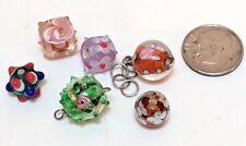 Lot of 6 Glass Lampwork Flower Beads Assorted Jewlery Crafts Pink Green Purple