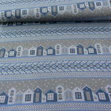 Strickstoff Stenzo Häuser blau grau braun 1 50m breite