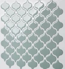 Tic Tac Tiles_3D Peel and Stick_Wall Tile_Damask Jade(5 sheets x 25cm x 25cm)