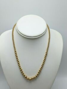 """14K Yellow Gold Graduated Bead Strand Necklace 18"""" (4.51g)"""
