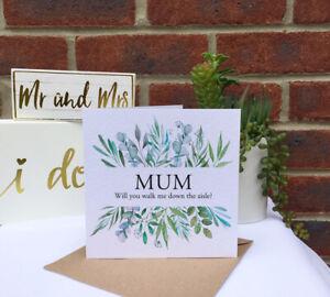 PERSONALISED walk me down the aisle eucalyptus leaf foliage frame wedding card