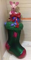 Vintage Disney Piglet Glass Ornament Santas Best European Style Winnie The Pooh