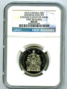 2015 CANADA 50 CENT HALF DOLLAR NGC MS69 FIRST RELEASES... SUPER RARE !!
