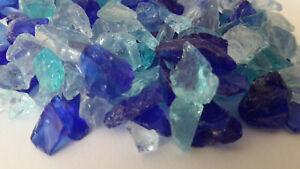 1 kg GLASKIES BUNT-MIX, Glassplitt,Glasgranulat,Gartenkies ca 5-10 mm, Blautöne