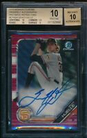 BGS 10/10 SEAN HJELLE AUTO 2019 Bowman Chrome RED WAVE REFRACTOR #/5 RC PRISTINE