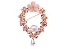 Pin Brooch with Opal Like Flower Fashion Rhinestone Opal Topaz Stone Wreath