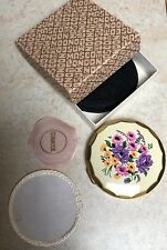 Boxed Mascot Compact Floral Enamel English Puff Sifter Vintage Retro 1960s
