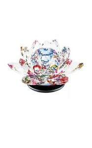 LARGE MULTICOLORED Crystal LOTUS Flower Ornament Home Decor Manual Rotate Round
