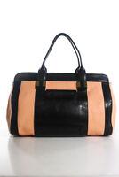 Chloe Pink Black Leather Gold Tone Zip Large Satchel Handbag