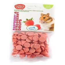 3 X 75g Happy Pet Critters Choice Raspberry Strawberry Drops - Hamster Etc