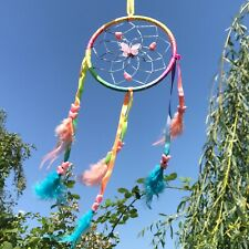 New Rainbow and Butterfly Bead Dream Catcher Native American Wall Hanging Mobile