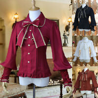 Women Long Shirt Puff Sleeve Vintage Lolita Blouse Bowknot Chiffon Blouse