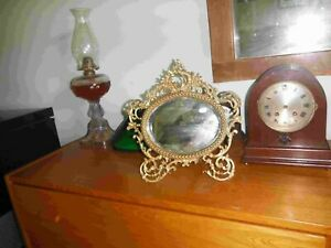 Antique Ornate Oval Brass Vanity or Wall Mirror Victorian Design
