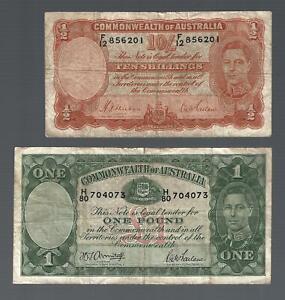 AUSTRALIA,✨ KG VI 1 pound & 10 Shillings orange signature ✨ Collections #9878