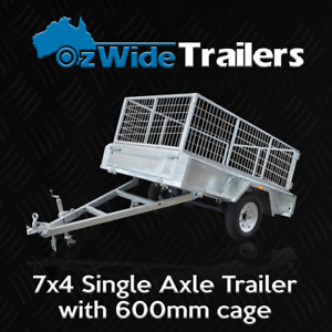 7 x 4 BOX TRAILER BRAND NEW GALVANISED WITH CAGE + TIPPER - FULLY WELDED