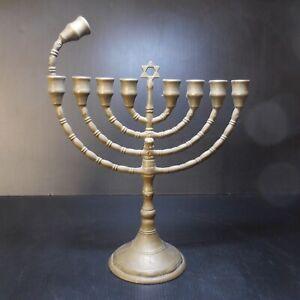 Chandelier candélabre hébreu MENORAH bronze vintage religion judaïsme N7753