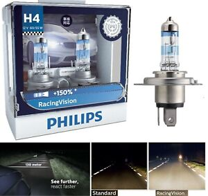 Philips Racing Vision 150% 9003 HB2 H4 60/55W Two Bulbs Head Light Upgrade Stock