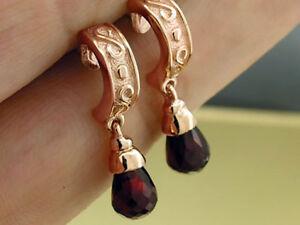 E010 Genuine 9K Rose Gold NATURAL Garnet Briolette Earrings Hoop Scroll Drop