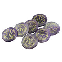 7pieces Natural Crystal Stone Set Polished Engraved Amethyst Gemstone Set