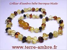 COLLIER D'AMBRE BEBE PERLES RONDES MIXTE + POCHETTE