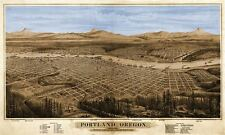 "HUGE City Map of PORTLAND Oregon - Birds Eye View in 1879 - 24"" x 40"""