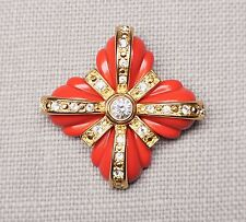 Joan Rivers Coral Red & Gold Tone Rhinestone Maltese Croos Brooch Pin 2.25""