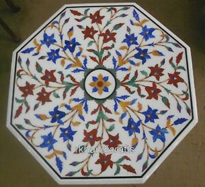 18 Inches Multi Gemstones Inlaid Coffee Table Top White Marble Corner Table Top