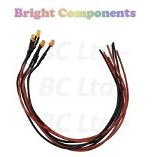 5 x Pre-Wired Orange LED 3mm Diffused : 9V ~ 12V : 1st CLASS POST