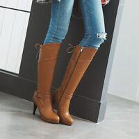 Plattform Damen Kneehohe Stiefel High Heel Schnalle Schuhe Schnür Lang Stiefel