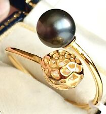 Peacock Pearl & White Sim Diamond  Ring Y Gold On Silver Size T (3.550cts