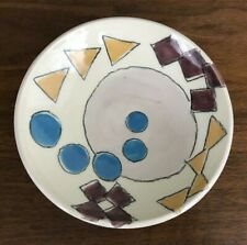 80s Look Graphic Pottery Geometric Shapes Yellow Blue Candy or Trinket Dish