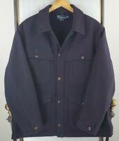 VTG POLO RALPH LAUREN Size XL Mens 100% Wool Double Mackinaw Cruiser Jacket Navy